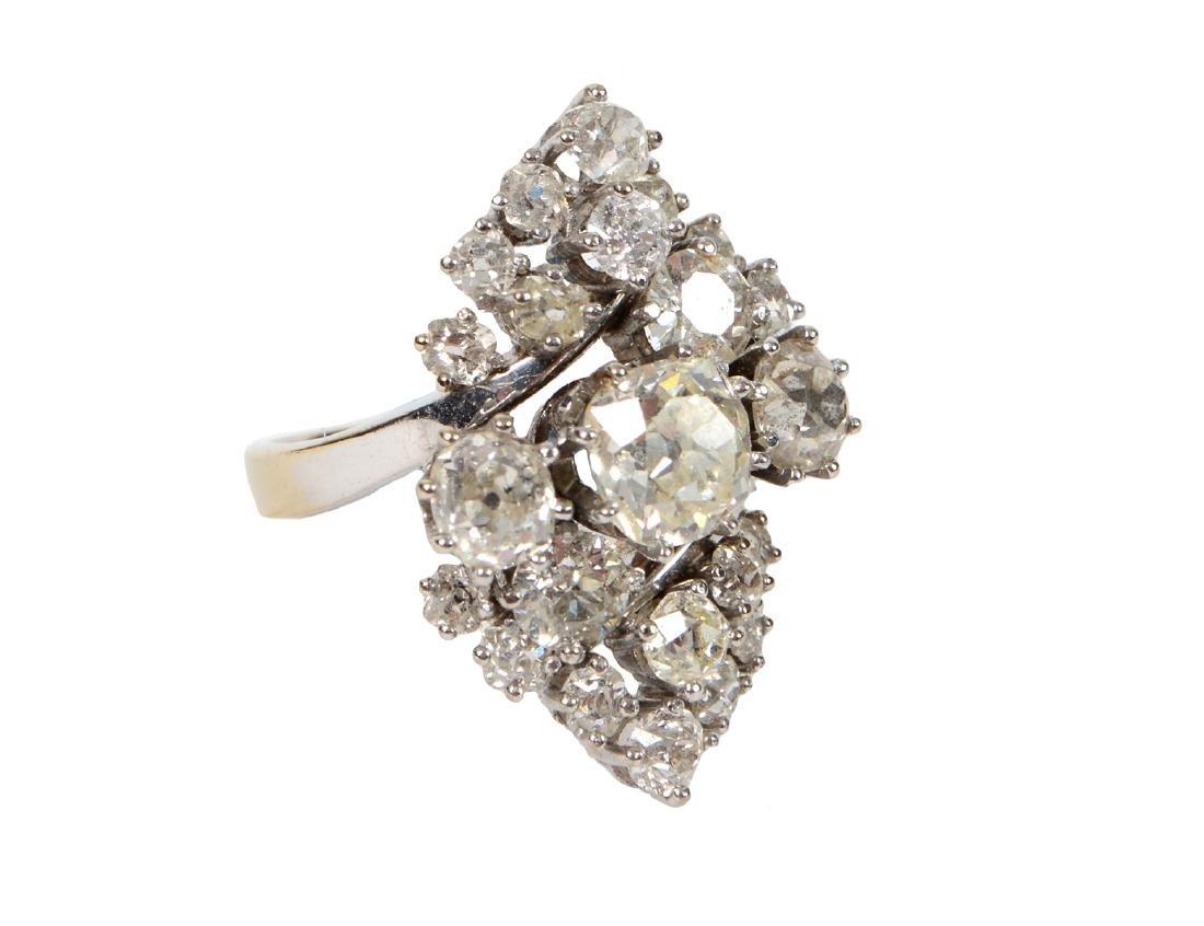 LADIES OLD MINE CUT DIAMOND CLUSTER RING