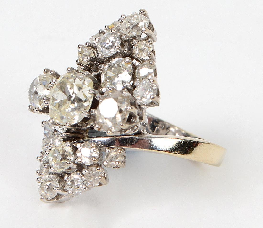 LADIES OLD MINE CUT DIAMOND CLUSTER RING - 2