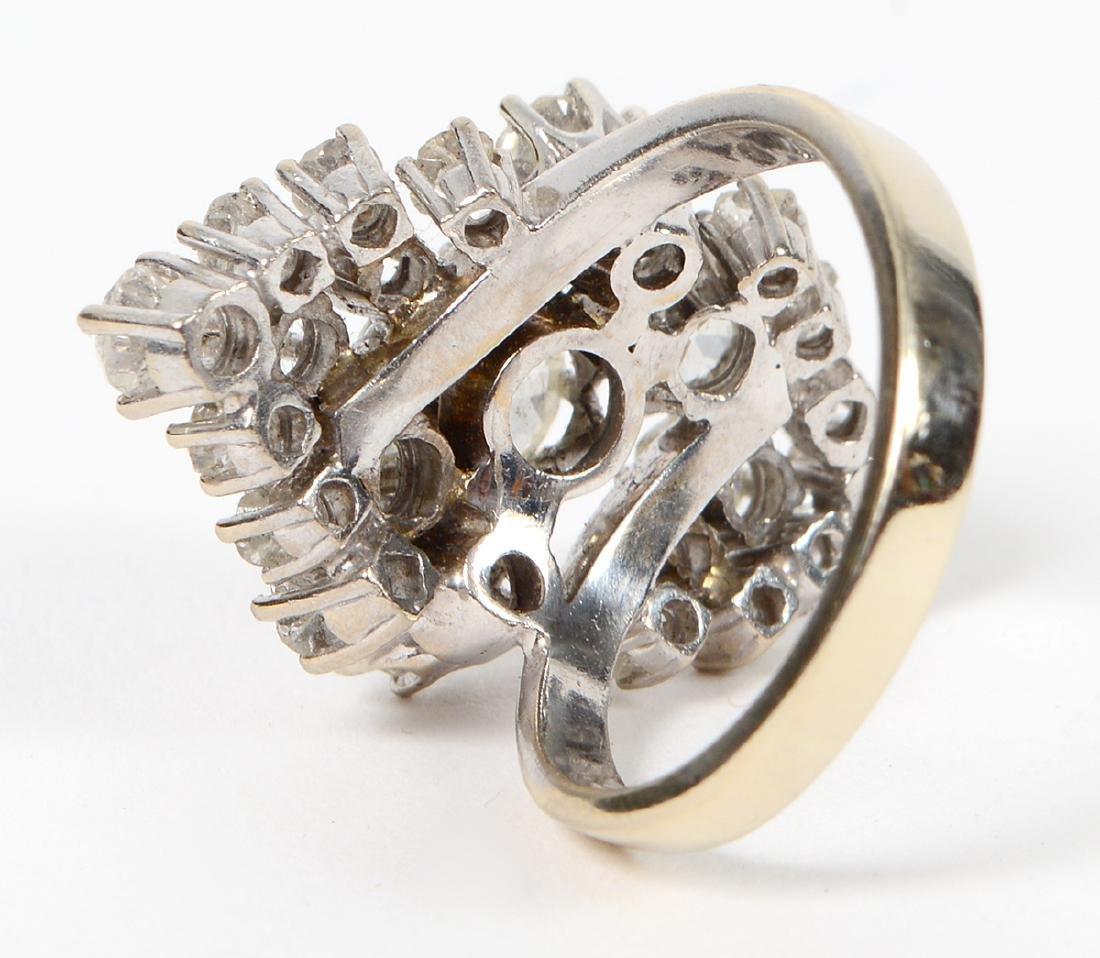 LADIES OLD MINE CUT DIAMOND CLUSTER RING - 3
