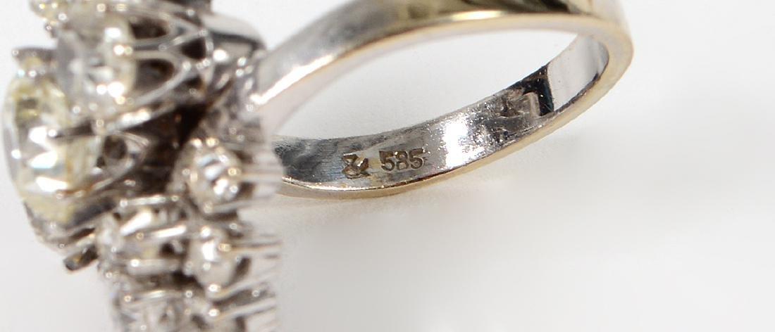 LADIES OLD MINE CUT DIAMOND CLUSTER RING - 4