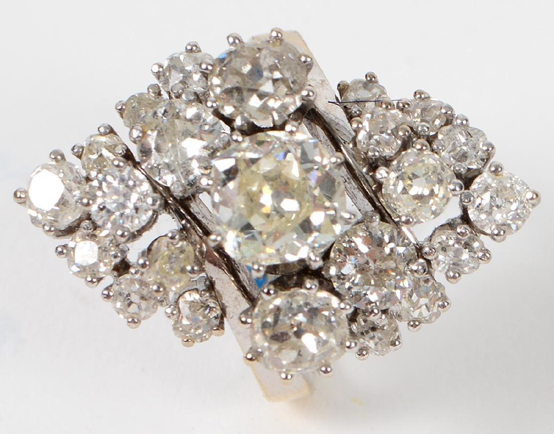 LADIES OLD MINE CUT DIAMOND CLUSTER RING - 5