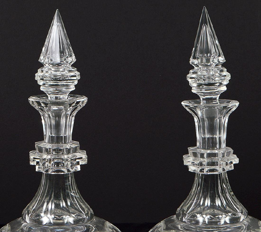 PAIR OF CUT GLASS DECANTERS AND A CUT GLASS BOWL - 2