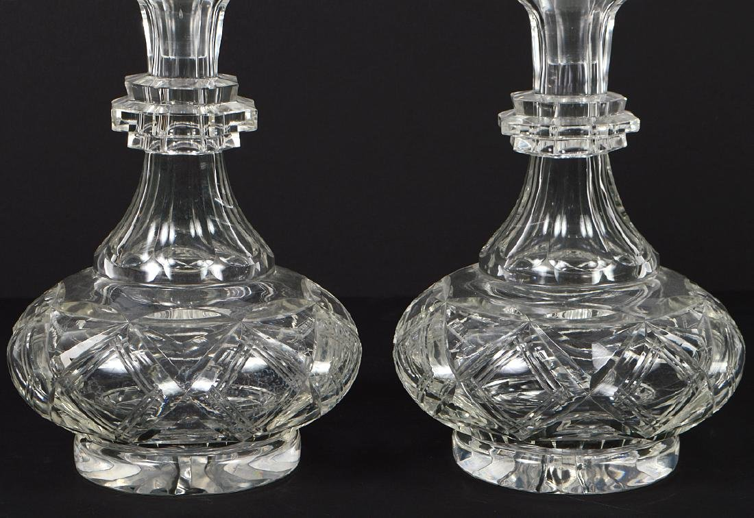 PAIR OF CUT GLASS DECANTERS AND A CUT GLASS BOWL - 3