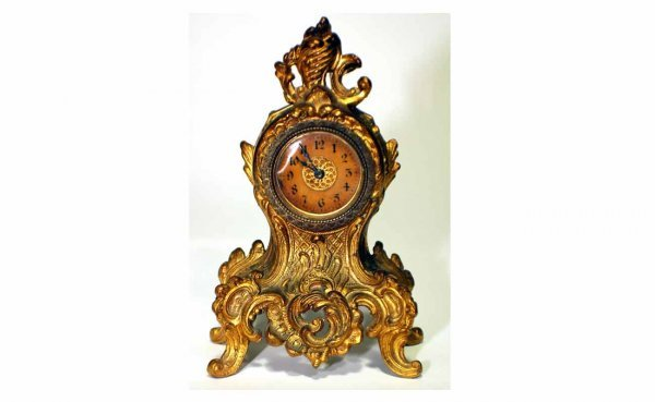 2: Fr-Style Rococo Gilt Metal Footed Mantel Clock