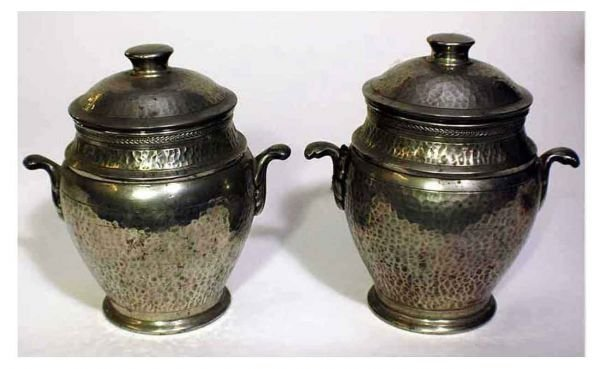 8: 2 Hammered Covered Double-Handled Pewter Canisters