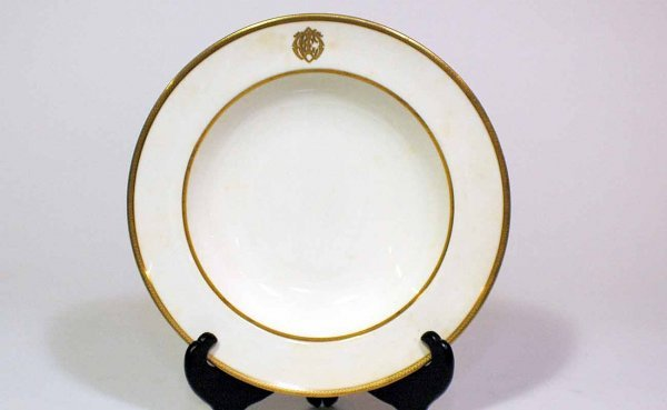 10: 10 Minton Monogrammed and Gold-Accented Soup Bowls