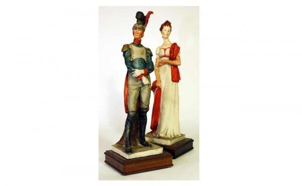 14: Pair of Signed Fine Porcelain Figurines of a So