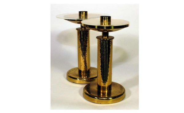 18: Pair of Hammered Brass Single Column Candlestic