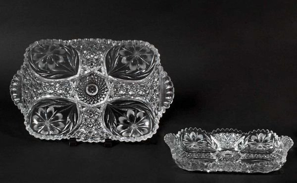 21: American Brilliant Cut Glass Handled Tray with