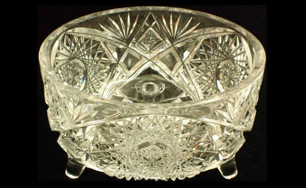 22: Brilliant Cut Footed Glass Bowl measuring 7 7/8