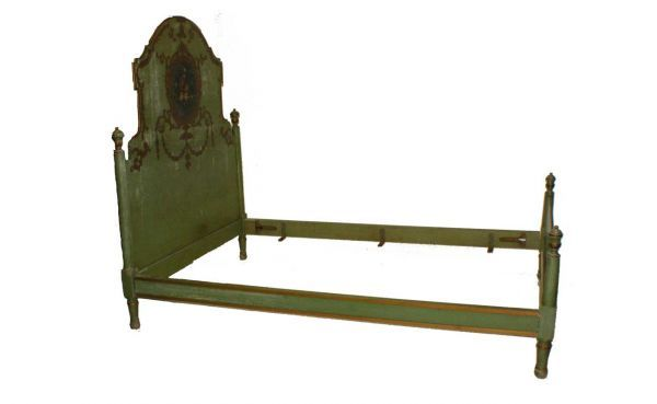 Green Painted Shaped Headboard decorated with