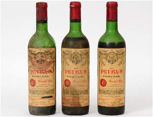 THREE FRENCH 1967 PETRUS POMEROL RED WINE BOTTLES