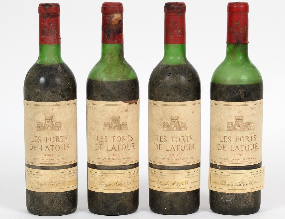 FOUR FRENCH 1967 LA FORTS LATOUR RED WINE BOTTLES