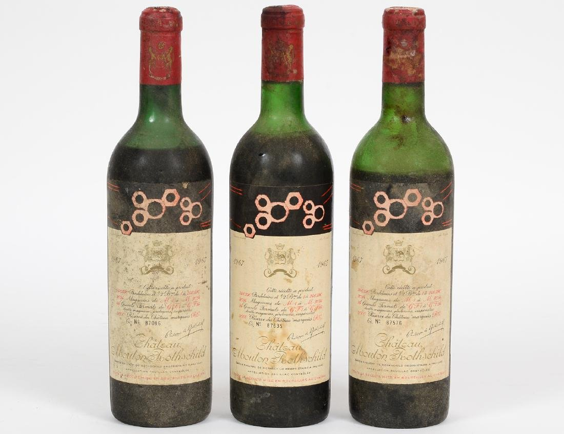 THREE FRENCH 1967 CHATEAU MOUTON ROTHSCHILD RED WINE