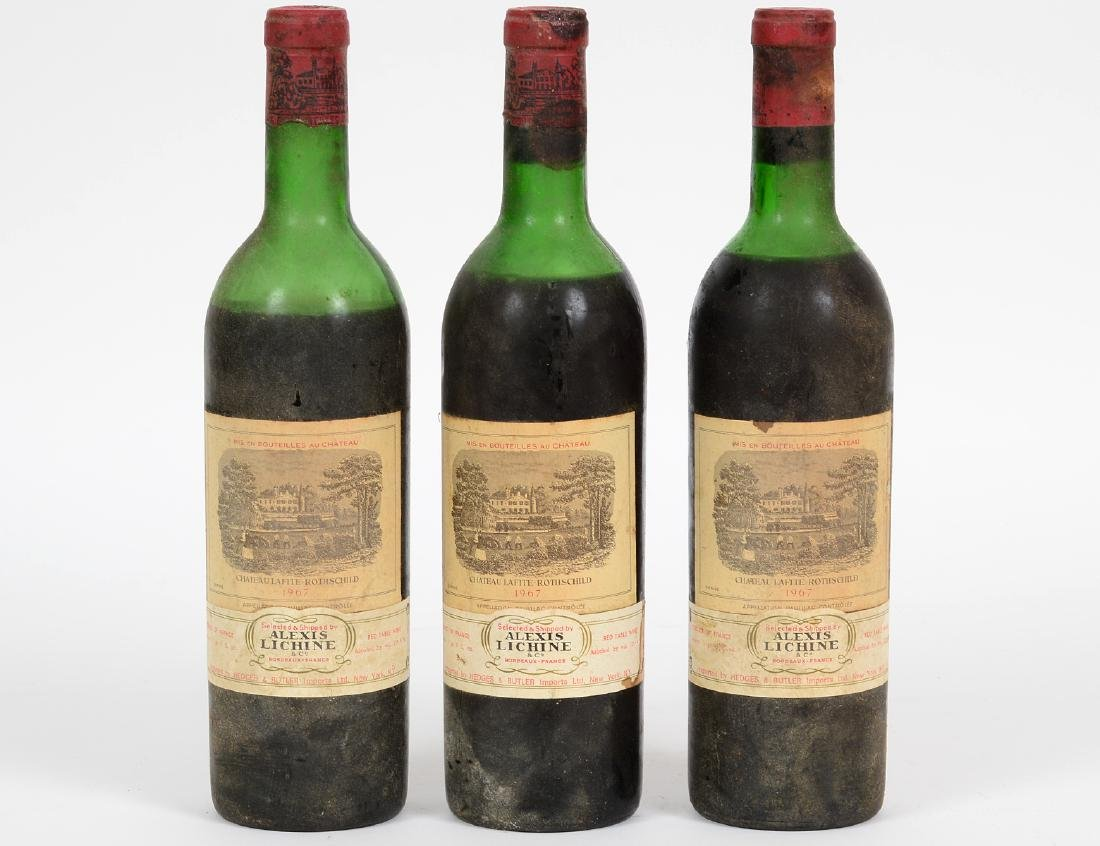THREE FRENCH 1967 CHATEAU LAFITTE ROTHSCHILD RED WINE