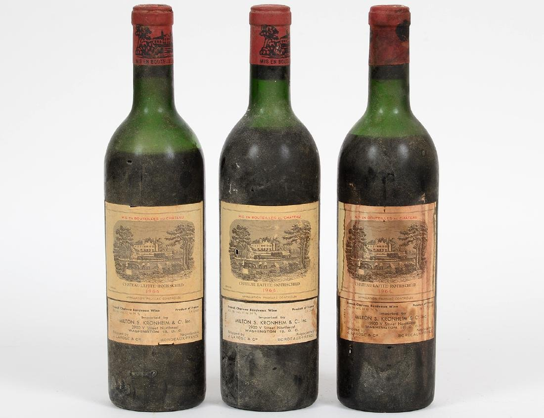 THREE FRENCH 1964 CHATEAU LAFITTE ROTHSCHILD RED WINE