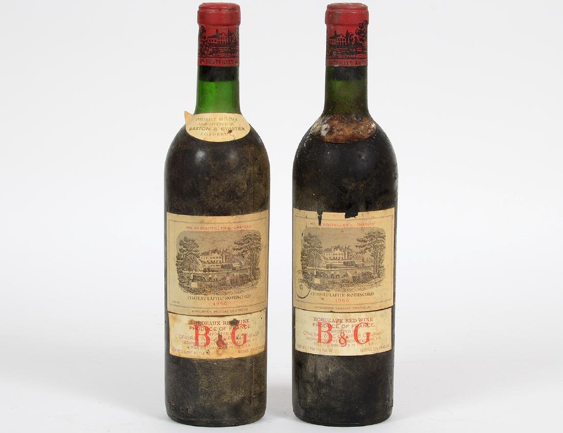 TWO FRENCH 1966 CHATEAU LAFITTE ROTHSCHILD RED WINE