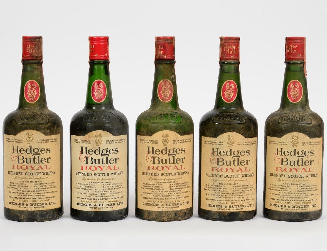 FIVE BOTTLES HEDGES & BUTLER SCOTCH WHISKEY