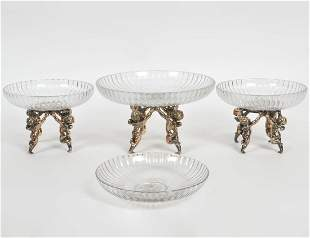 THREE CONTINENTAL SILVERED METAL GLASS FIGURAL TAZZA
