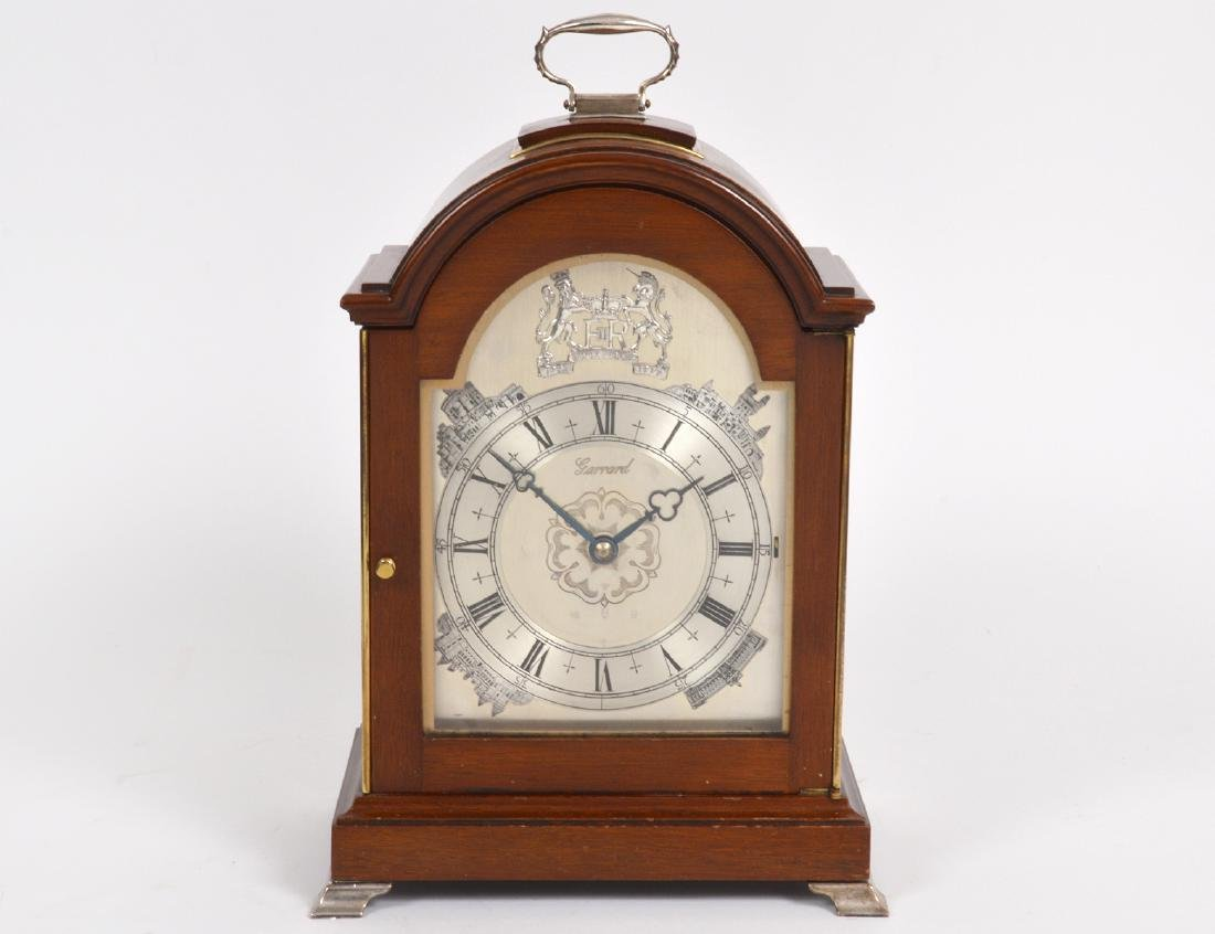 FINE ENGLISH SILVER MTD MAHOGANY MUSICAL MANTLE CLOCK