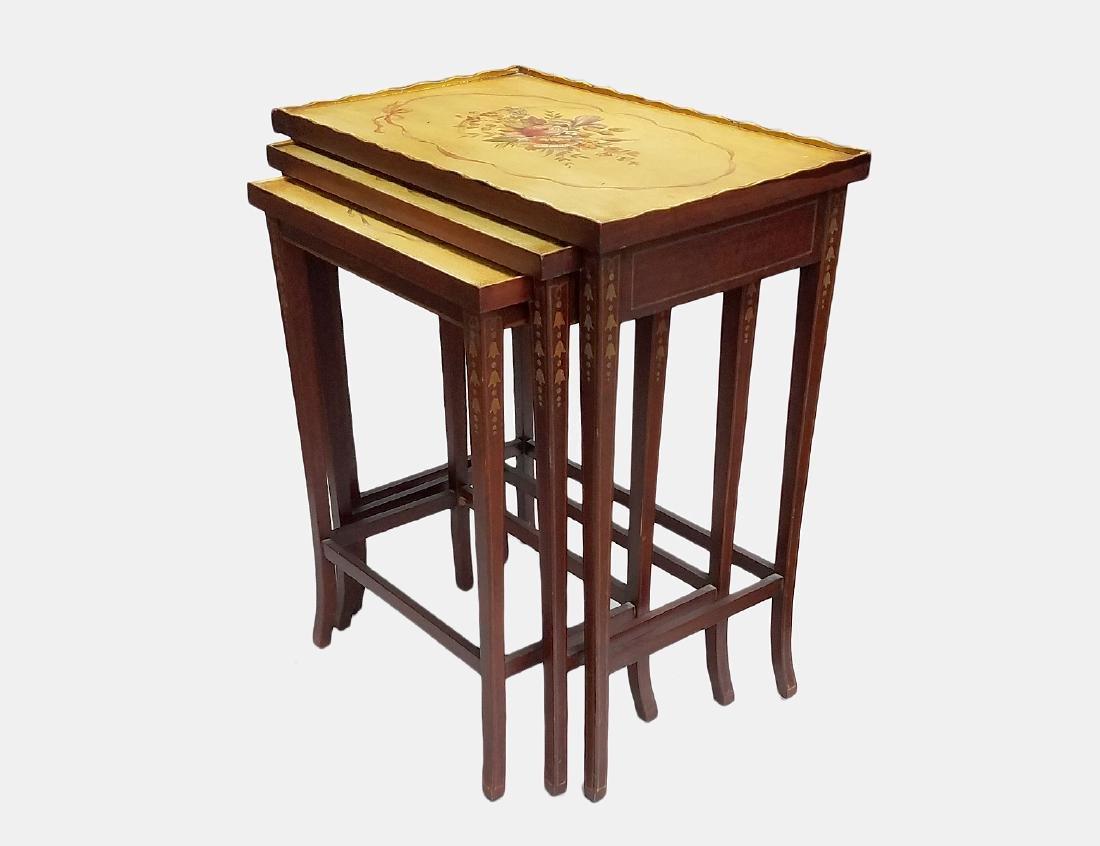 EDWARDIAN PAINTED MAHOGANY NEST OF THREE TABLES