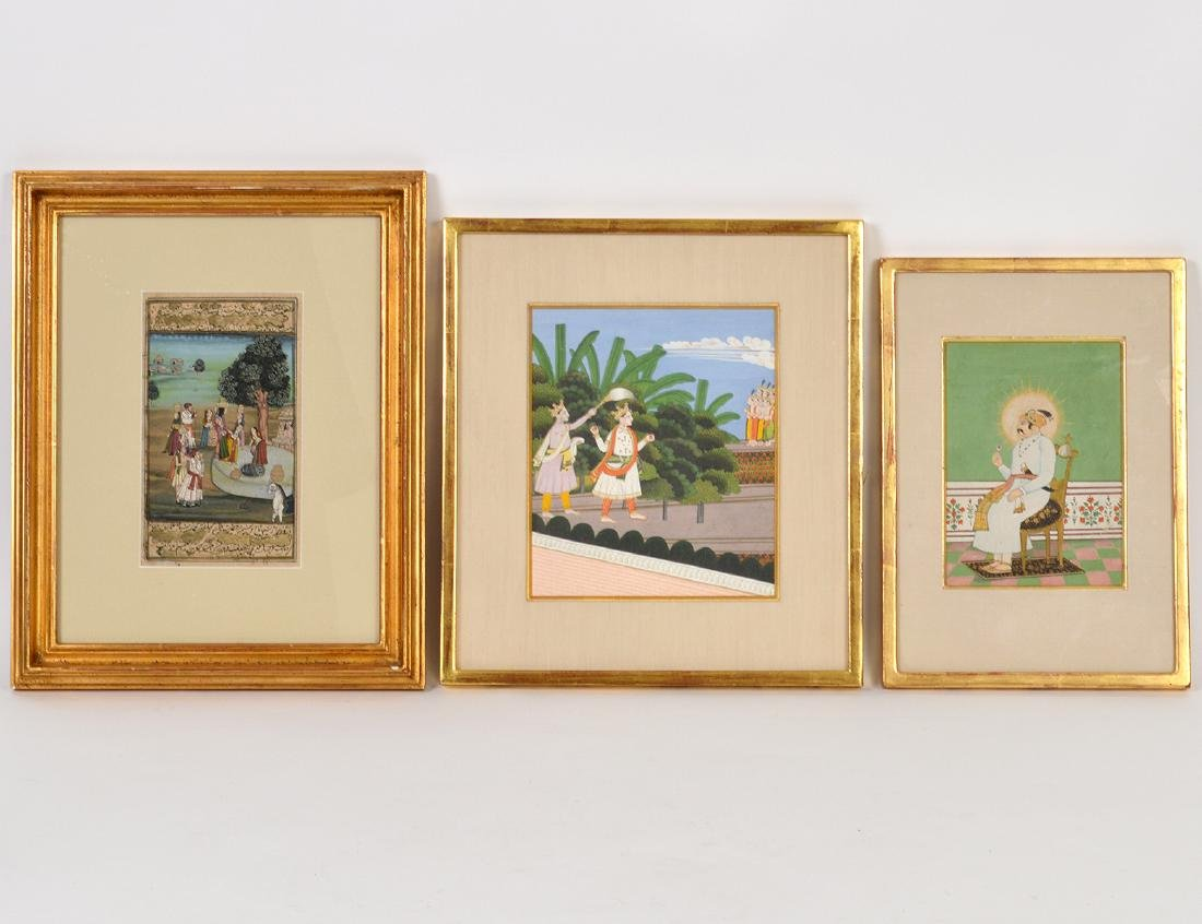 THREE INDIAN PAINTED MINIATURES