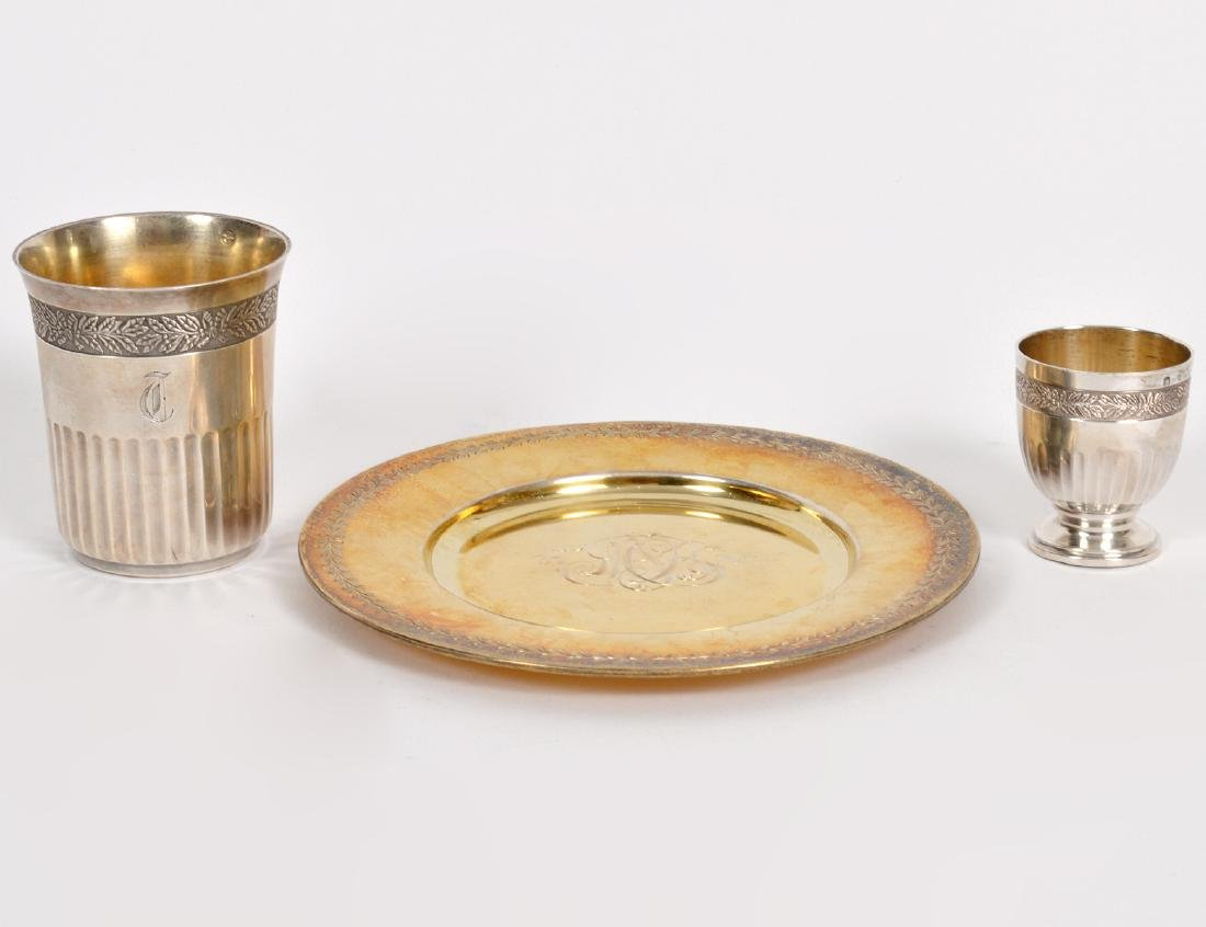TWO FRENCH SILVER SMALL CUPS & GILT SILVER DISH