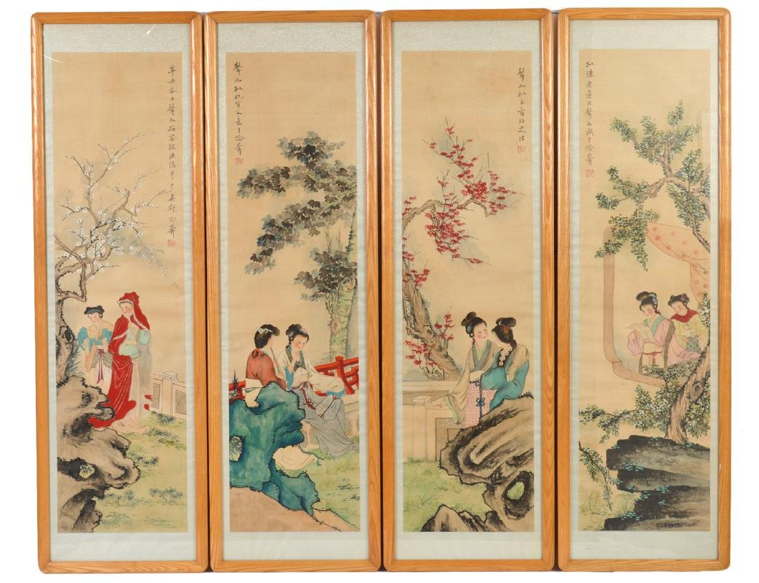 SET OF FOUR CHINESE PAINTINGS ON SILK