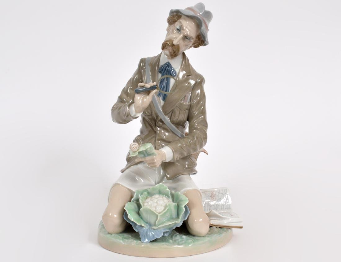 LLADRO PORCELAIN FIGURE OF AN INSECT COLLECTOR