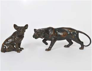 PATINATED BRONZE OF A TIGER AND A BRONZE OF A PUG