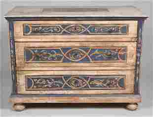 ITALIAN BAROQUE STYLE PAINTED CHEST OF DRAWERS
