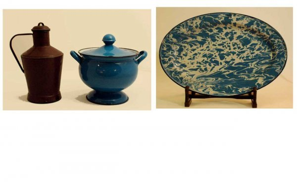 1001: Three Pieces of Enamelware including: Double-Hand