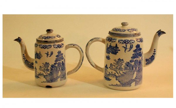 1002: Pair of Enamelware Teapots with Pictorial Chinese