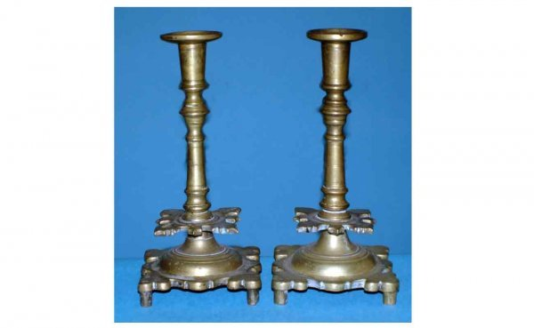 1012: Pair of Antique Brass Candlesticks Very Early