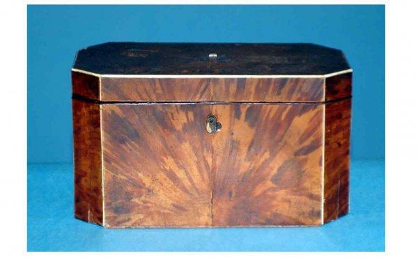 1016: English Regency Burl Mahogany Tea Caddy with bone