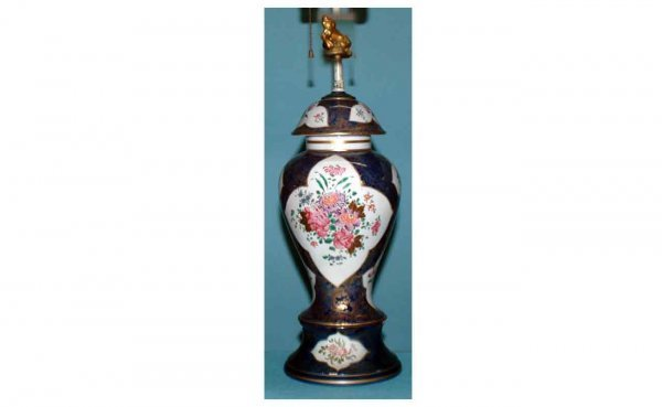 1020: Cobalt Porcelain Glazed Lamp with Chinese Famille