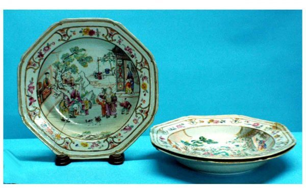 1021: Set of Three Chinese Export Shallow Dishes (as-is
