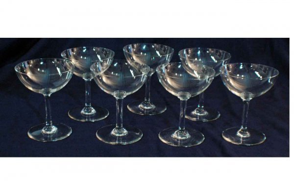 1023: Seven (7) Baccarat Crystal Champagne Glasses (bow
