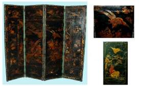 1324 Antique 4Panel Leather scene with HandPainted C