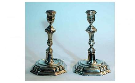 1370: Pair of Etched Silver Single Candlesticks each me