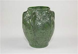 AMERICAN ARTS & CRAFTS GREEN GLAZED POTTERY VASE