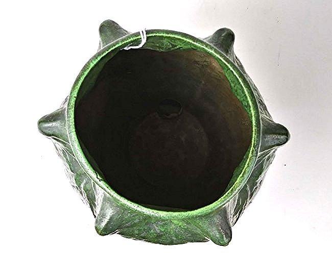 AMERICAN ARTS & CRAFTS GREEN GLAZED POTTERY VASE - 2