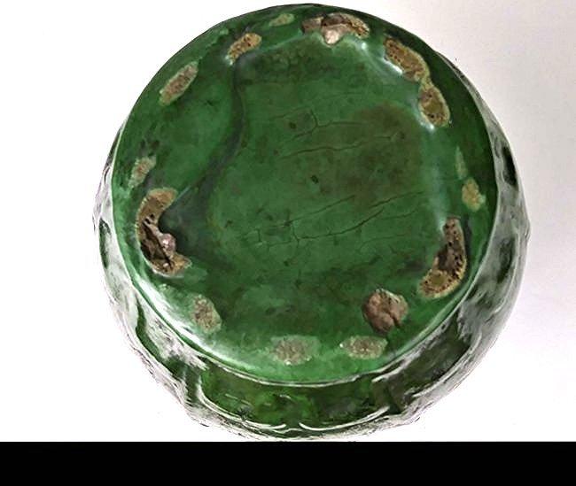 AMERICAN ARTS & CRAFTS GREEN GLAZED POTTERY VASE - 3