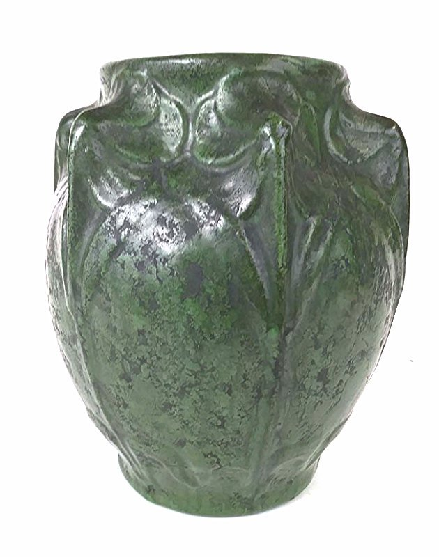 AMERICAN ARTS & CRAFTS GREEN GLAZED POTTERY VASE - 4