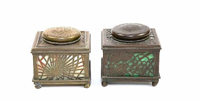 TWO TIFFANY STUDIOS PATINATED METAL & GLASS INKWEL