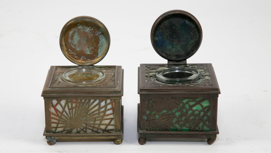 TWO TIFFANY STUDIOS PATINATED METAL & GLASS INKWEL - 2