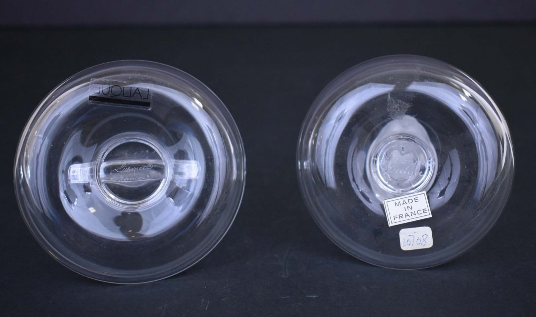 LALIQUE COLORLESS GLASS NAIADE AND RAM PIN DISHES - 3