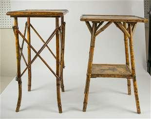 TWO FAUX PEN WORK & BAMBOO OCASSIONAL TABLES