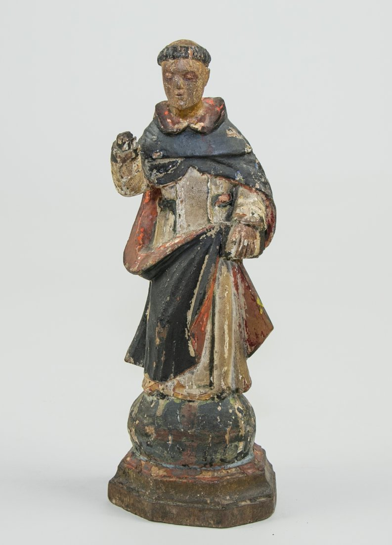 SPANISH COLONIAL PAINTED WOOD FIGURE ST. DOMINIC