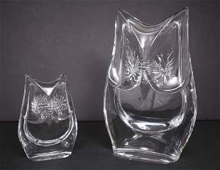 TWO DAUM COLORLESS GLASS OWLS